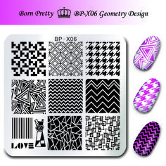Геометрия Дизайн Ногтей Штамповки Пластин Born pretty 6*6 см Квадратных Ногтей Штамп Плиты Шаблона Изображения BP-X06