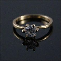 ~♥ LOOK ♥~ Lab-Created 6mm Diamonds Prong Setting 18KT GOLD Plated ring Size 7.5