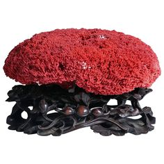 Large Red Coral Specimen on 19th Century Carved Chinese Rosewood Base   From a unique collection of antique and modern curiosities at https://www.1stdibs.com/furniture/more-furniture-collectibles/curiosities/