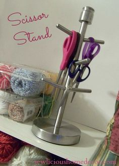SEW Organized-Scissor Stand made from coffee mug rack Sewing Room Decor, Sewing Room Organization, Craft Room Storage, Sewing Rooms, Craft Rooms, Sewing Closet, Studio Organization, Space Crafts, Home Crafts