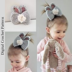 crochet bow pattern This listing is for the PDF pattern to make a crocheted Bunny Bow, not the finished product. The Bunny Crochet Bow is a simple, quick, beginner friendly pattern. Crochet Bow Pattern, Crochet Patterns Amigurumi, Crochet Unicorn Blanket, Crochet Hair Bows, Unicorn Hat, I Love This Yarn, Easter Crochet, Girl Hair Bows, Filet Crochet