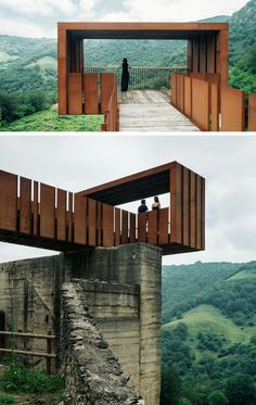 This Cantilevered Lookout Has Views Of An Old Mine In Spain This striking walkway and lookout at an old mining site near Riosa, Spain, is made from concrete, rusty steel and recycled wood, and acts as a rest stop and viewing point for visitors. Plans Architecture, Canopy Architecture, Landscape Architecture Design, Landscape Plans, Architecture Facts, Landscape Bricks, Enterprise Architecture, India Architecture, Concrete Architecture