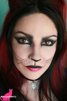 cat makeup halloween- Make-up Artist Me!: Felina - Cat Costume Makeup Tutorial mua by Divonsir Borges Cat Costume Makeup, Cat Halloween Makeup, Halloween Eyes, Cat Eye Makeup, Cat Costumes, Kitty Costume, Kitty Makeup, Mime Makeup, Animal Makeup