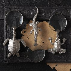 Artisan Turtle, Crocodile & Frog Silver Magnifying Glasses, so decorative,  more beautiful inspiring luxury designer furniture, lighting and home decor accents to enjoy pin and share at InStyle Decor Beverly Hills enjoy & happy pinning