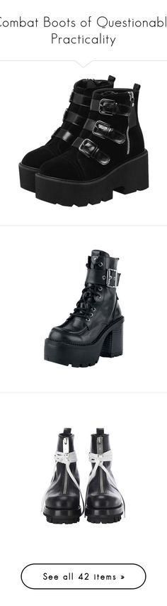 """Combat Boots of Questionable Practicality"" by vulture95 ❤ liked on Polyvore featuring shoes, boots, ankle booties, black platform booties, black side zip boots, side zip booties, platform ankle booties, black platform boots, lace up block heel shoes and wide shoes"