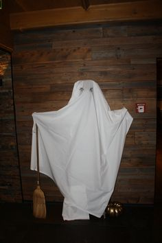 Halloween decoration from a ladder and a sheet, Parkhotel, Bavaria