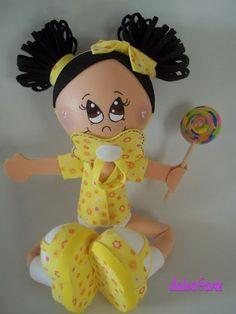 Fofucha bebé amarilla paso a paso realizado y compartido por dalva@artes. Paso a paso fofucha bebé amarilla:…