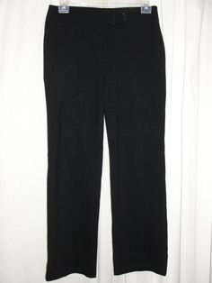 Eileen Fisher Womens Size M Black Stretch Rayon Nylon Extended Tab Ponte Pants #EileenFisher #DressPants
