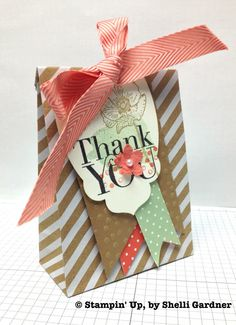 Shelli Gardner Tag on Bag -- Stampin Up 2014 Stamp Sets:  Happy Watercolor, Another Thank You (Photopolymer)