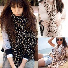 New Fashion Chiffon Colorful Sweet Cat Pattern Women's Long Scarf Neck Wrap Shawl