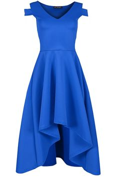 Oops Outlet Women's Plain Cold Shoulder V Plunge Hi Low Flare Swing Skater Dress * You can find more details by visiting the image link. (This is an affiliate link and I receive a commission for the sales)
