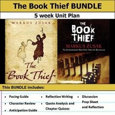 5 weeks of lesson plans. Includes pacing guide, film essay, activities, chapter quizzes, and discussions. This bundle has everything you need to get started teaching The Book Thief in an engaging way!