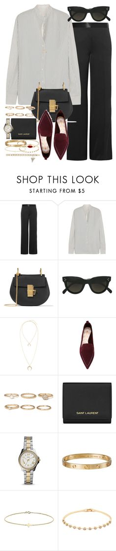 """""""Sin título #4282"""" by hellomissapple on Polyvore featuring moda, Victoria Beckham, Chloé, CÉLINE, Nicholas Kirkwood, Forever 21, Yves Saint Laurent, FOSSIL, Cartier y Minor Obsessions"""