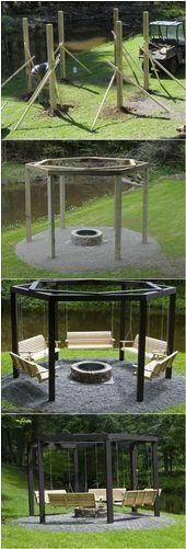 --Build an Amazing DIY Pergola and Firepit with Swings----#amazing #build #diy #firepit #pergola #swings #Amazing #Build #DIY #Firepit #Pergola #Swingsamazing