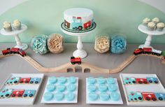 transportation dessert table Train Guest Dessert Feature