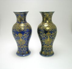 #AntiqueChinese #PowderBlue #KangxiPeriod #Qing #Porcelain #Baluster #Gilt #Vase #Pair