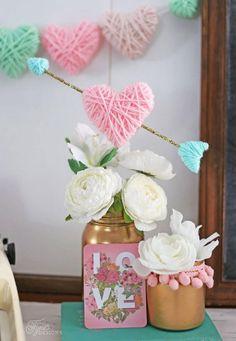 Yarn Wrapped Styrofoam Hearts.