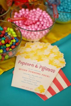 Popcorn & Pajama Party Invitation by whenandwhereinvites on Etsy, $4.50