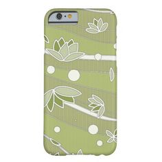 Green Lotus Flowers on Olive Stripes iPhone 6 Case