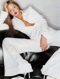 """Two Tone"" Devon Aoki photographed by Tom Munro for Vogue UK April 2001 Fashion Editor: Kate Phelan Hair: Ward Makeup: Frank B. #inspiration #blog #blogger #tumblr #fashion #style #models #photography #vogue http://www.midnight-charm.com/"