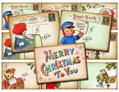 Printable, digital collage sheet of Christmas gift tags/labels. Set of 9 atc/aceo sized designs inspired by vintage postcards. Now offering