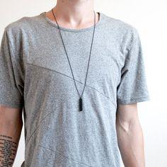 Men's Bar Necklace, Wood Necklace, Bar Necklace, Wood Bar Necklace, Black Chain Necklace, Minimal Mens Necklace    THE COLUMN