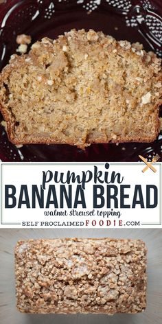 Pumpkin Banana Bread with Walnut Streusel topping celebrates the best of fall. The pumpkin and banana make it the most moist banana bread ever! Similar to my classic pumpkin bread recipe, but with more! #pumpkinbread #bananabread #pumpkinbananabread #topping #streusel #recipe Banana Walnut Bread, Pumpkin Banana Bread, Moist Banana Bread, Banana Bread Recipes, Pumpkin Recipes, Fall Recipes, Snack Recipes, Dessert Recipes, Muffin Recipes