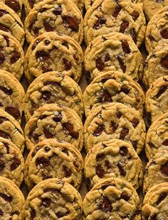 2 dozen overlapping ultimate chocolate chip cookies via David Leite from The New York Times