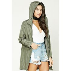 Forever21 Lightweight Zip-Front Jacket ($17) ❤ liked on Polyvore featuring outerwear, jackets, olive, zip front jacket, army green jackets, forever 21, olive jacket and lightweight jackets