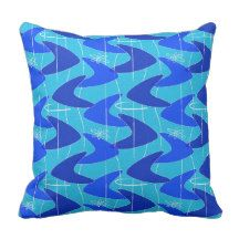Cafe Boomerang in Blue Throw Pillow