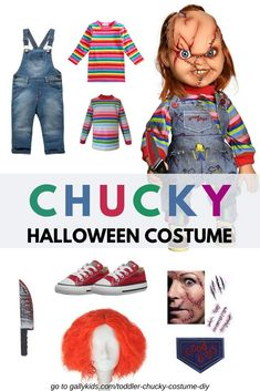 Chucky for a halloween costumes - , and sizes. This is a tutorial on how to do a Chucky costume for kids. also includes some ideas on where to buy the costumes, especially the overalls and the shirts, for sizes that fit toddlers. Chucky Halloween, Baby Boy Halloween, Baby Halloween Costumes For Boys, Boy Halloween Costumes, Boy Costumes, Halloween 2019, It Costume, Zombie Costumes, Halloween Tricks