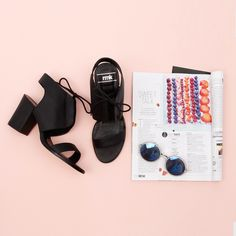 Loving this lace-up heel by RMK! These modern chic heels can take you from brunch to the evening! You won't want to take them off! SHOP > http://www.styletread.com.au/maifair-black.html | Black Heels | Style | Flat Lay | Lace Up | Modern | Chic | Style | Summer #flatlay #shoes #heels #style