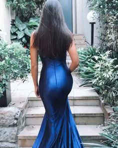Fashion Mermiad One Shoulder Navy Blue Long Prom/Evening Dress Navy Dress Outfits, Sparkly Outfits, Modest Outfits, Fashion Dresses, Modest Clothing, Gala Dresses, Satin Dresses, Evening Dresses, Formal Dresses