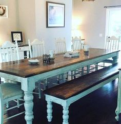 10 foot heart pine table and bench by WellsWorksFurniture on Etsy