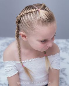 Dutch braids with an elastic accent today we were inspired by Girls Hairdos, Girls Braids, Little Girl Hairstyles, Diy Hairstyles, Braided Hairstyles For Kids, Updo Hairstyle, Ariel Hair, Baby Girl Hair, Princess Hairstyles