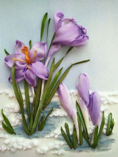 Image result for ribbon embroidery crocus