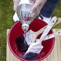 soak old paintbrush in hot vinegar for 30 minutes and good as new! I need to remember this!
