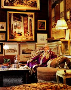 Kenneth Jay Lane at home.| mission:  how to hang all of my art WITHOUT  the above as the result. I don't want to die of over-exposure!