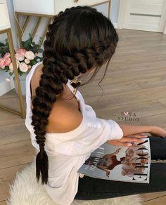 So elegant Two Dutch braids into one. Classy Hairstyles, Side Braid Hairstyles, Prom Hairstyles For Long Hair, Braids For Long Hair, Bride Hairstyles, Braided Bridal Hairstyles, Braids For Prom, Prom Braid, Braided Prom Hair