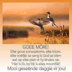 """GOEIE MÔRE! Elke goue sonsopkoms, elke blom, elke voëltjie se sang is God se stem wat op elke plek vir Sy kinders sê: """"Hier is Ek, by My is alles moontlik!"""" Mooi geseënde daggie vir jou!"""