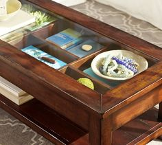 shadow box coffee table. i love this, and i can't wait to decorate