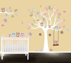 Custom Listing Pink Swirl Tree With Daisy Flowers Birds Nursery - Custom vinyl wall decals nursery