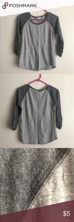 """Gray Baseball Tee Cute and comfy. The slouchy sleeve offers a slightly more elegant take on the casual baseball tee. 3/4 length sleeve. Juniors Medium. About 25"""" long. Tops Tees - Long Sleeve"""