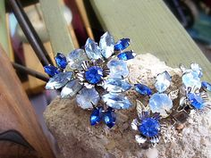 Vintage Brooch and Earring Set Signed Beaujewels in Blue Rhinestones and Silver - Signed - Circa 1960'sALCustomJewelry on Etsy, $28.00