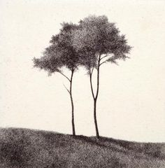 Shigeki Tomura. Standing on a Hill, 1994. Intaglio. Edition AP. 3-3/4 x 5-3/4 inches.