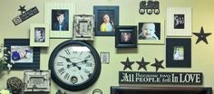 Fun layered picture wall. This is the wall I designed in our Orem store. =)