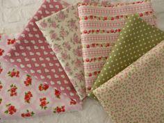 6 HALF FQ fat quarters Pink Floral cotton fabric bundle vintage style ShabbyChic   eBay