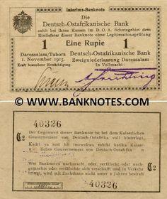 German East Africa 1 Rupie 1915 -  Printer: Deutsch-Ostafrikanische Zeitung G.M.B.H. Daressalam. Right signature: A. Frühling. Watermark: Capital letters in some notes only.