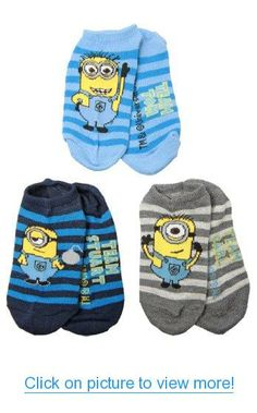 Despicable Me 2 Striped Minions Youth No Show Socks - 3 Pack