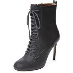 Renvy Vania Lace-Up Bootie ($99) ❤ liked on Polyvore featuring shoes, boots, ankle booties, dark grey, lace up ankle booties, leather boots, lace up bootie, short boots and leather ankle boots